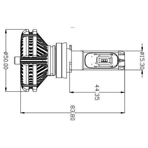 Набір світлодіодного головного світла UP-X3HL-H7W-6000LM (H7, 6000 лм, холодний білий) Прев'ю 1