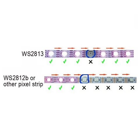Світлодіодна стрічка RGB SMD5050, WS2813 (чорна, з управлінням, IP67, 5 В, 30 діодів/м, 1 м) Прев'ю 1